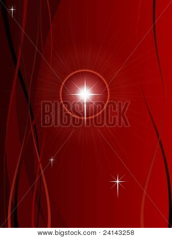 Festive Christmas Background with Shining point lights, swirls and snowflakes on a red fading background