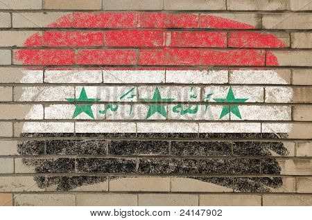 Flag Of Iraq On Grunge Brick Wall Painted With Chalk
