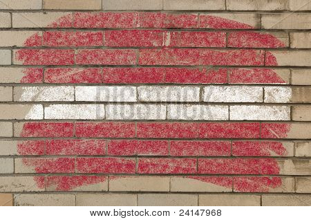 Flag Of Latvia On Grunge Brick Wall Painted With Chalk
