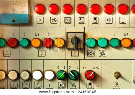 Many Big Buttons On An Industrial Board
