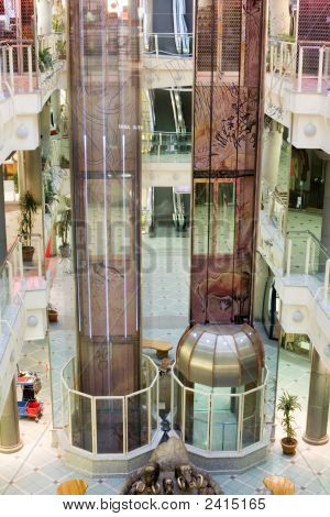 Elevators In A Multilevel Shopping Mall Before Open