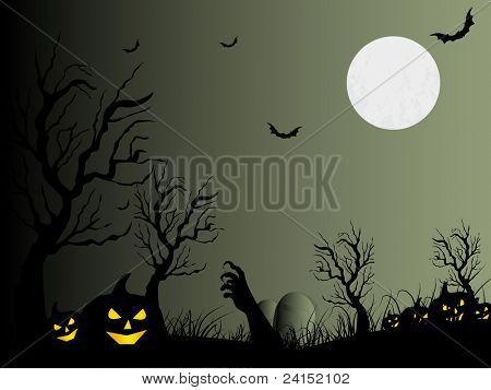 Fondo de cementerio con la calabaza y la bruja mano tema espeluznante vector para halloween
