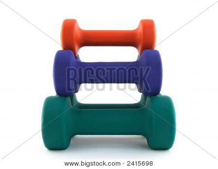 Pyramid Of Colorful Dumbbells