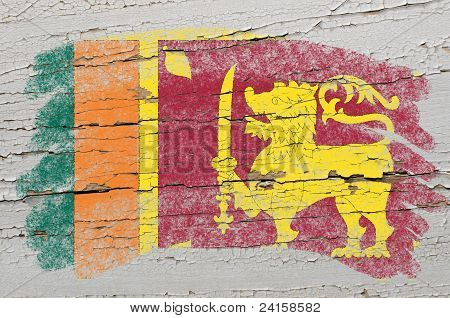 Flag Of  Srilanka On Grunge Wooden Texture Painted With Chalk