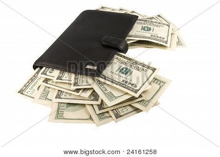 Leather billfold with money.