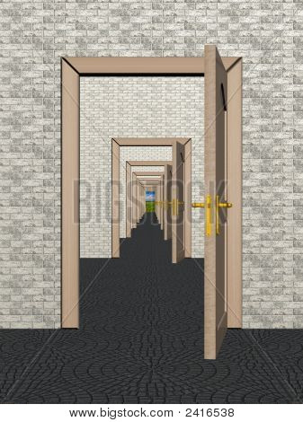 A Row Of The Open Doors. 3D Image.