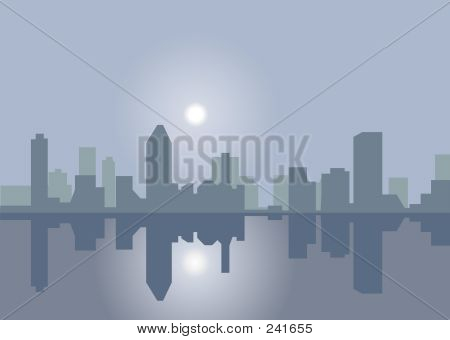 Winter Skyline Reflection