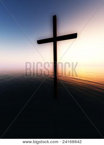 Cruz de flutuação sobre o mar