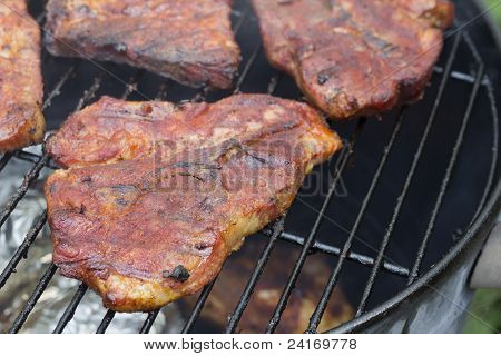smoked pork on the grill