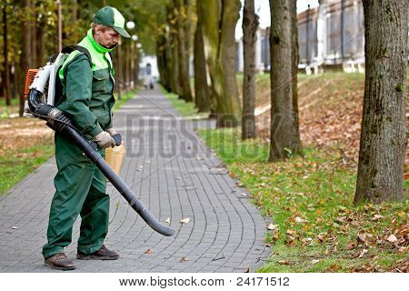 Man with Leaf Blower