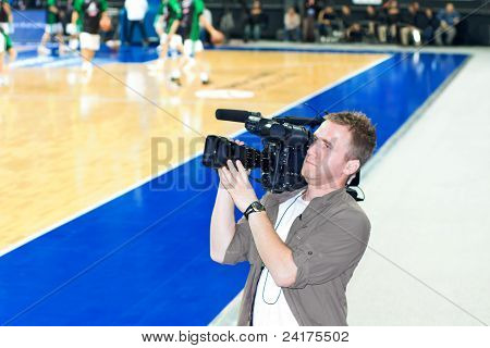 Tv cameraman records
