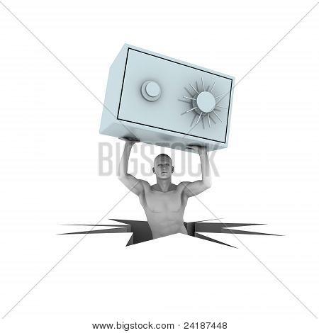 3d man lifting bank safe