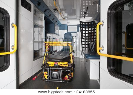 Interior of an empty ambulance with stretcher