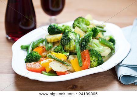 Stir-fried vegetables on a plate