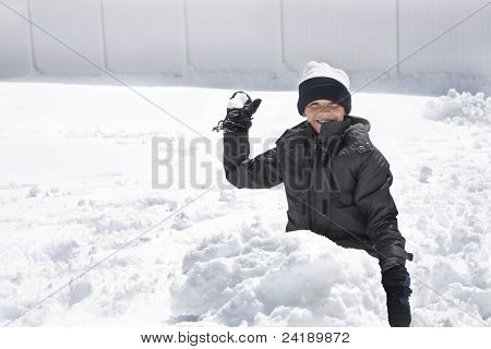 Boy ready for a Snowball Fight