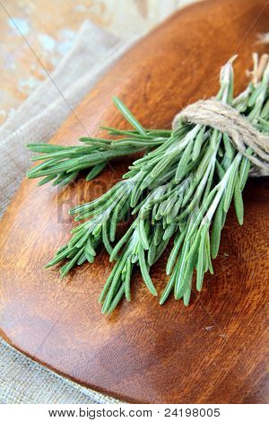 Rosemary bound on a wooden table