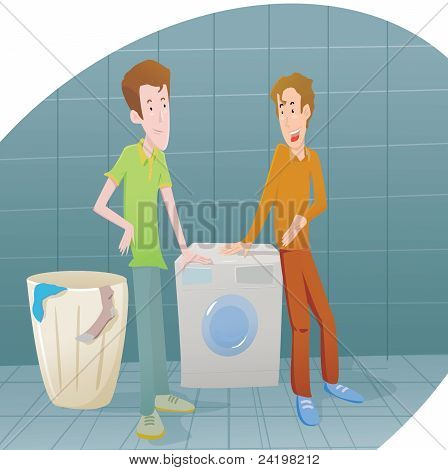BOYS WITH WASHING MACHINE