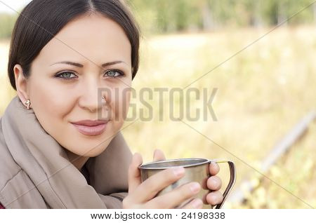 Portrait Of A Beautiful Girl, Drinking From A Cup