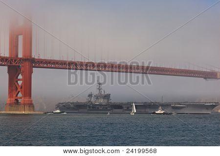 Aircraft Carrier Carl Vinson Passes Under The Golden Gate Bridge