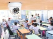 Cctv Security Monitoring Student In Classroom At School.security Camera Surveillance For Watching An poster
