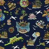 Seamless Pattern With Pirate Adventures Concept, Treasure Islands, Old Sailing Ships, Nautical Symbo poster