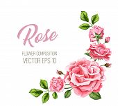 Vector Realistic Rose Flower Leaves Decorated Vintage Marriage Card Template With Elegant Watercolor poster