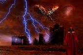 Surreal digital art. Lightning strikes spooky ruins. Figure of man in red cloak. Naked man with burn poster