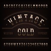 Vintage Alphabet Font. Golden Ornate Letters And Numbers. Vector Fancy Typeset For Typography Design poster