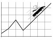 Cartoon Stick Man Drawing Conceptual Illustration Of Businessman In Roller Coaster Moving Fast Up On poster