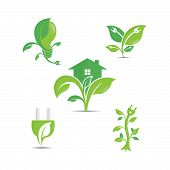 Green Ecology Vector Logo Icons. Clean Environment, Recycling Process And Renewable Energy Pictogram poster