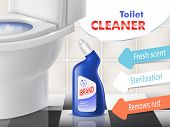 Toilet Cleaner Vector Promotion Banner With White Ceramic Bowl In Lavatory. Blue Plastic Bottle With poster