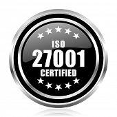 Iso 27001 black silver metallic chrome border glossy round web icon poster