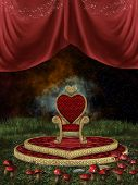 foto of throne  - Magic throne with curtain and mushroom in the nigth - JPG