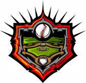 pic of fastpitch  - Baseball and Baseball Field Graphic Vector Template - JPG