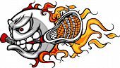 stock photo of lax  - Flaming Lacrosse Ball Face Cartoon Illustration Vector - JPG