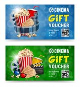 Cinema Gift Vouchers Designs With Popcorn And Other Elements On A Movie Theme On A Blue And Green Bo poster