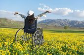 Feeling Freedom For Disabled People;relaxing Day For Disabled poster