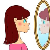 picture of whelk  - Sad teenager girl looking at mirror and seeing acne - JPG
