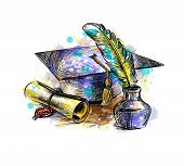 Diploma Of Graduation With A Graduate Cap And Pen From A Splash Of Watercolor, Hand Drawn Sketch. Ve poster