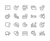 Simple Set Of Sleep Related Vector Line Icons. Contains Such Icons As Insomnia, Pillow, Sleeping Pil poster