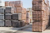 Pallets With Bricks In The Building Store. Racks With Brick. Masonry, Stonework. Several Pallets Wit poster