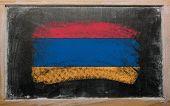 Flag Of Armenia On Blackboard Painted With Chalk