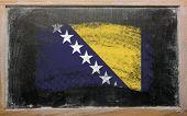 Flag Of Bosnia And Herzegovina On Blackboard Painted With Chalk