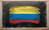 Flag Of Columbia On Blackboard Painted With Chalk