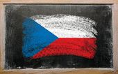 Flag Of Czech On Blackboard Painted With Chalk
