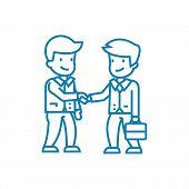 Deal Arrangement Line Icon, Vector Illustration. Deal Arrangement Linear Concept Sign. poster
