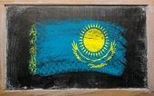 Flag Of Khazakstan On Blackboard Painted With Chalk