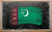 Flag Of Turkmenistan On Blackboard Painted With Chalk