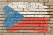Flag Of Czech On Grunge Brick Wall Painted With Chalk