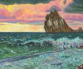 Beautiful Seascape. A Wave Rolling On The Shore, A Rock In The Sea, Colorful Clouds Illuminated By T poster